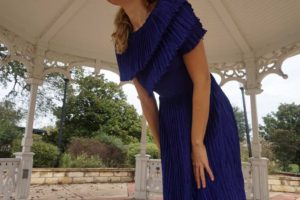 Investment Piece, high fashion, tailoring, purple, Mary McFadden, pleats, CA, TX