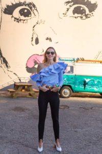 Investment Piece, fashion blogger, shoulder Ruffles, Stephen Spillman, stripes, stirrups, CA, TX