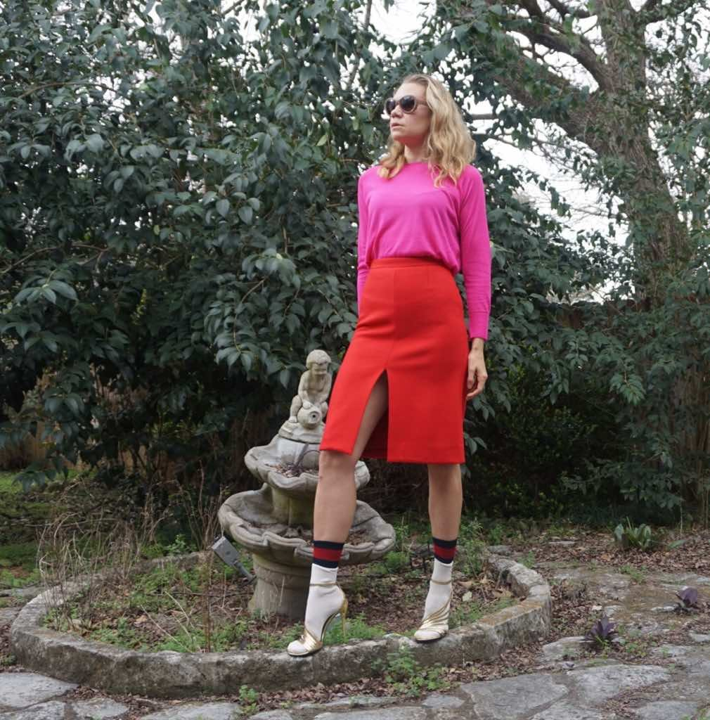 Investment Piece, fashion blogger, color block, Red//Pink, Jcrew, Zara, Gucci, CA, TX